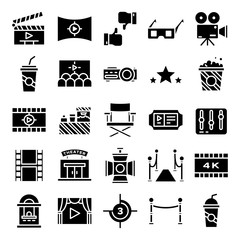 Cinema icons pack. Isolated cinema symbols collection. Graphic icons element