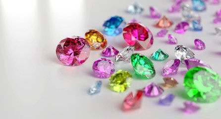 Colorful Gemstones placed on white reflection background 3d rendering