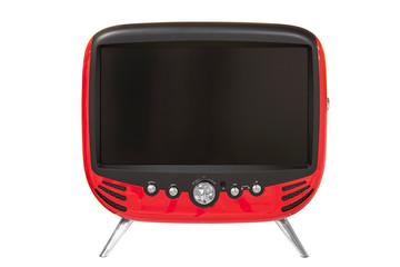 Roter retro Fernseher mit schwarzem Monitor und silbernen Knöpfen isolated