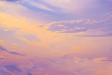 Pastel sunset sky in pink, purple and blue