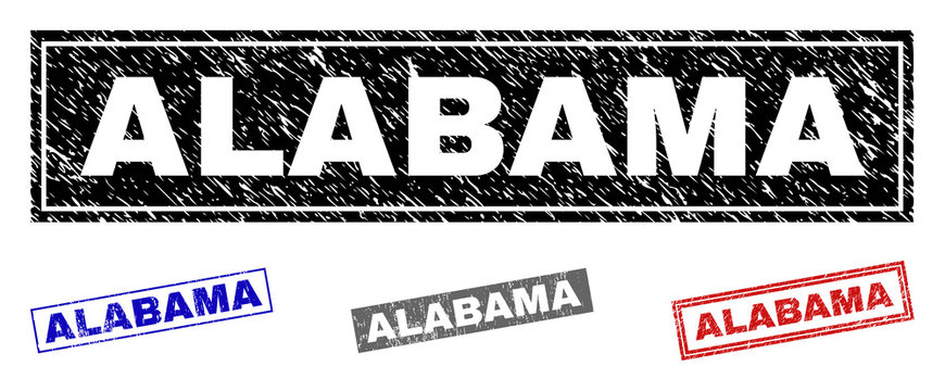 Grunge ALABAMA rectangle stamp seals isolated on a white background. Rectangular seals with grunge texture in red, blue, black and gray colors.