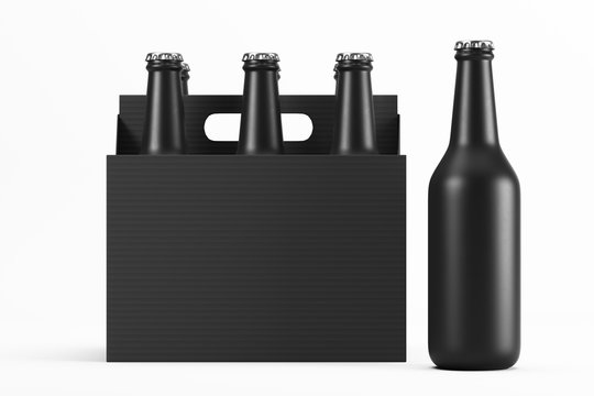 Glass matte black bottles in cardboard box on white background with reflection. One black frosted bottle standing on the side. Mock up. 3d rendering