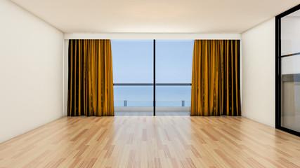 The interior design of empty room and living room modern style with window or door and wooden floor. 3d Render