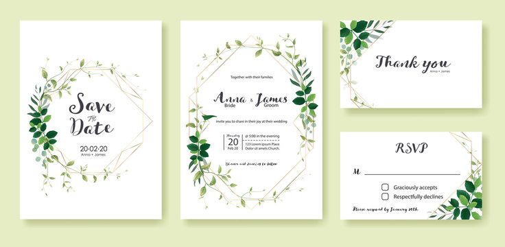 Greenery wedding Invitation, save the date, thank you, rsvp card Design template. Lemon leaf, silver dollar, olive leaves, Ivy plants.