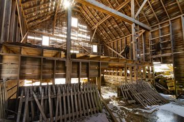 Wooden barn interior
