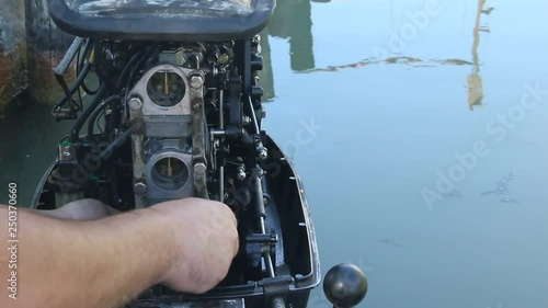 The repair of outboard motor for marine boat  Boat motor and