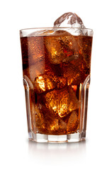 Fototapeta glass of cola with ice isolated on white background