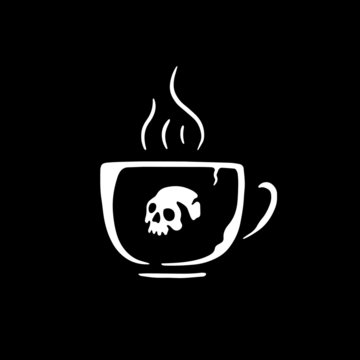 SKULL COFFEE CUP BLACK BACKGROUND