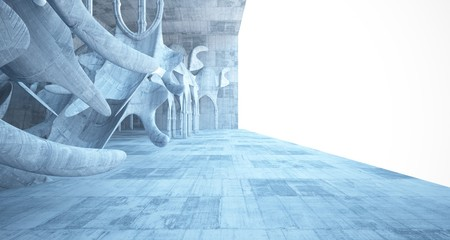 Abstract  concrete gothic interior with neon lighting. 3D illustration and rendering.