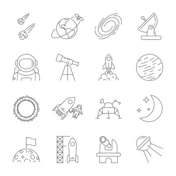 Space icons, astronomy theme, outline style. Contains moon, sun, earth, moon rover, satellite, asteroids, solar, telescope, galaxy, meteorites, observatory and other signs. Editable Stroke. EPS 10