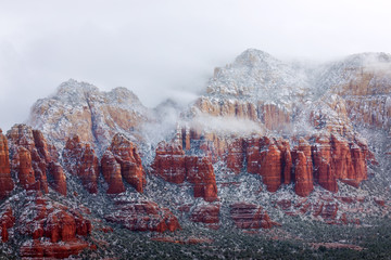 Red rocks covered with snow in Sedona, Arizona.