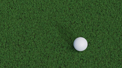 Up view of Golf ball waiting the club on a well cut lawn