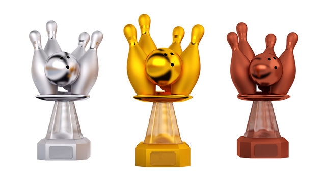 Front view of Bowling Gold Silver and Bronze Trophies