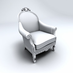 Ornate Ancient white armchair