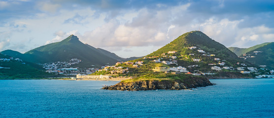Wall Mural - Panoramic landscape view of Philipsburg, Sint Maarten, Caribbean
