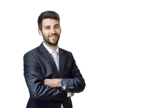 Happy smiling businessman  isolated on white background