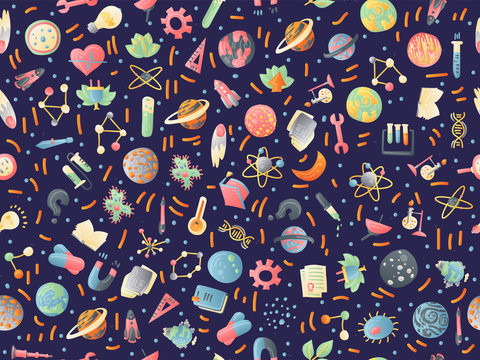 Cute cartoon back to school and college fun seamless pattern with colored school supplies. Science test tubes, books, physics, chemical and astronomy objects on colored school seamless pattern