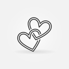 Two Crossed Hearts vector linear icon. Love concept symbol in thin line style