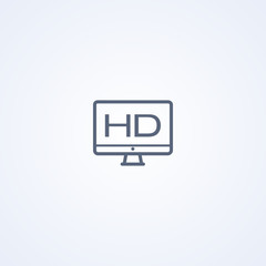 HD monitor, vector best gray line icon