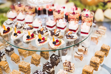Buffet with a variety of delicious sweets, food ideas, celebration