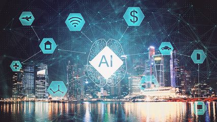 AI (Artificial Intelligence) concept. deep learning. Double exposure city background.