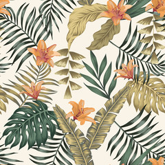 Wall Mural - Tropical leaves and flowers abstract colors seamless white background