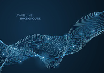 Futuristic abstract wave dot gradient line and illuminated light ball template background
