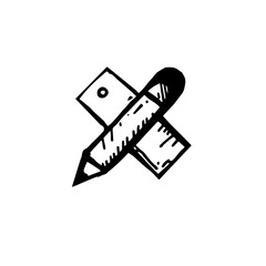 Icon black Hand drawn Simple outline pencil scale Symbol. vector Illustrator. on white background