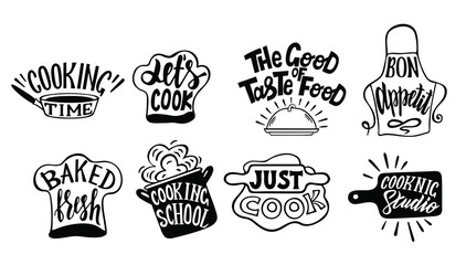 Cooking label set. Cook, food, eat, home baking icon or logo. Lettering vector illustration. Kitchen symbols  with lettering.