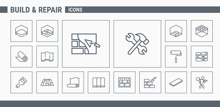 Construction icons set - Vector Outline web badges on the topic of repair
