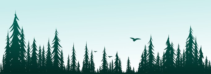 Forest landscape with birds.
