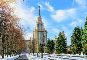 Main University of Moscow in winter view from park.