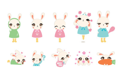 Cute rabbit character design set