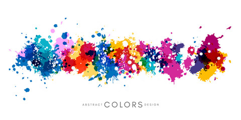 Colorful hand drawn decorative element from splashes. Abstract creative design from multicolored paint. Wall mural