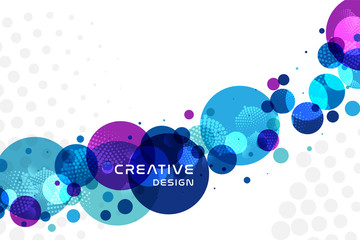 Blue, cyan and purple bubbles design. Abstract style background with decorative element