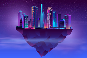 Vector modern megapolis on soaring island. Bright glowing buildings at night in cartoon style. Urban skyscrapers in neon colors, town exterior, architecture background. Cityscape concept. Wall mural