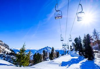 Wall Mural - ski lift chairs