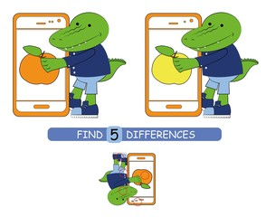 Find differences between pictures. Vector cartoon educational game. Cute alligator.