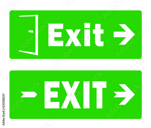 photo about Free Printable Safety Signs called Fireplace Exit Signal Template; Environmentally friendly Crisis Exit Protection Indications
