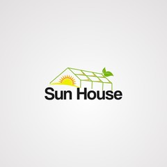 sun house logo vector, icon, element, and template for company