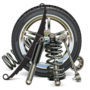 Vector Car Wheel with Suspension Parts