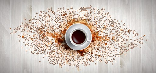 Coffee concept on wooden background - white coffee cup, top view with doodle illustration about coffee, beans, morning, espresso in cafe, breakfast. Morning coffee vector illustration with coffee