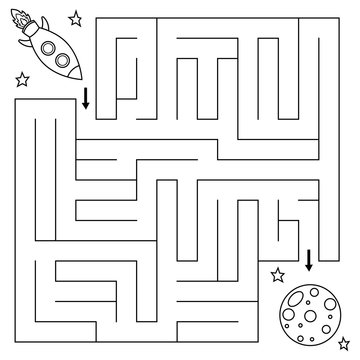 Maze game for children, help the rocket find right path to the moon. Coloring page. Vector illustration.