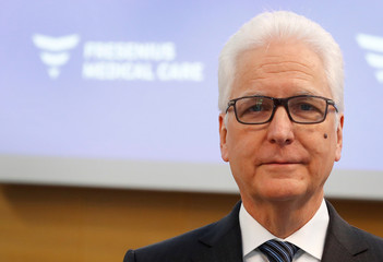 Michael Brosnan, CFO of Fresenius Medical Care, poses for a photograph prior to the company's annual news conference at their head quarters in Bad Homburg