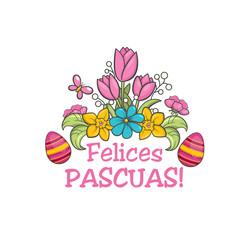 Feliz pascua, spanish easter greeting flower card