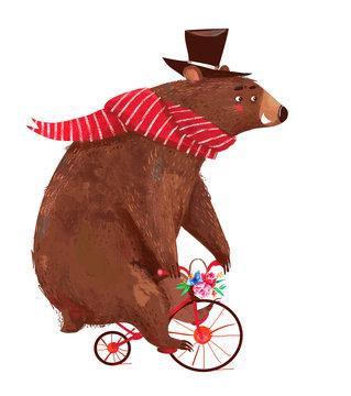 cute cartoon bear with scarf on bicycle