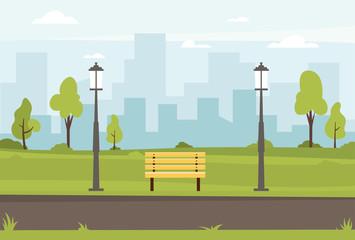 Public park vector flat illustration. Spring landscape city park bench in outdoor. Public park outdoor with cityscape background. Vector illustration