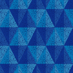 Trendy seamless pattern designs. Shapes of triangles with patterned texture. Vector geometric background. Can be used for wallpaper, textile, invitation card, wrapping, web page background.