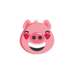 Smiling piggy face with heart eyes emoticon flat icon, vector sign, colorful pictogram isolated on white. Piggy in love emoji symbol, logo illustration. Flat style design