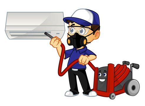 Hvac Cleaner or technician cleaning air conditioner